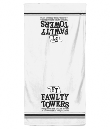 Fawlty Towers TV Comedy Show Inspired Fictional Hotel Towel Design Beach Towel